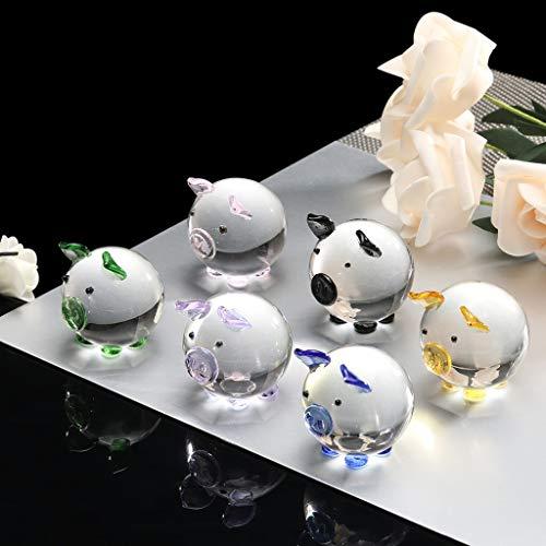 Euone Home, Multi-Color Crystal Pig Figurine Mini Animal Collectible Statue Family Decoratio