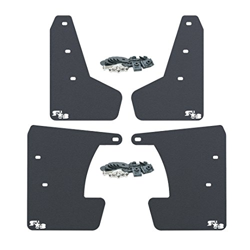 (RokBlokz Mud Flaps for 2017 + Subaru Impreza - Multiple Colors Available - Mud Guards are Custom Cut and Fit - Includes All Mounting Hardware (Black with White Logo, Original))