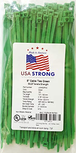 (Cable Ties. Standard Duty 7.6 Inch Premium Nylon Wire Management Zip-Ties. 50 LB Tensile Strength USA Strong Cable Ties (100 Pack,)
