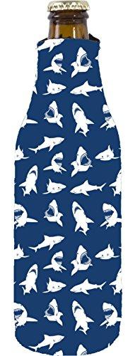 Coolie Junction Shark Pattern Blue Beer Bottle Coolie, Neoprene Collapsible Bottom