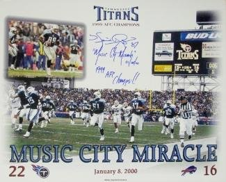 (Music City Miracle signed Tennessee Titans 11X14 Photo w/Music City Miracle 01/08/00 & '99 AFC Champs w/Kevin Dyson signature)