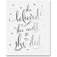 She Believed She Could So She Did Silver Foil Art Print Inspirational Modern Wall Art Poster Decor 5 inches x 7 inches B5