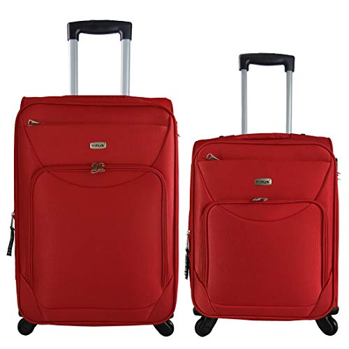 Timus Upbeat Spinner Red 55   65 cm 4 Wheel Strolley Suitcase for Travel Set of 2 Expandable Cabin and Check in Luggage   24 inch  Red