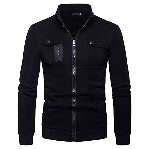 (Muranba Clearance Fashion Mens Slim Lapel Front-Zip Coat Jacket (US:XS/Tag:M, Black A))