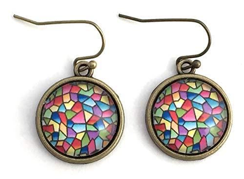 Mosaic Earrings - Glass Cabochon - Handmade