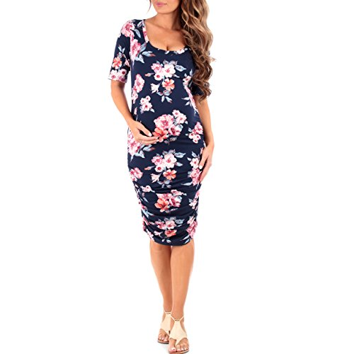 Women's Ruched Maternity Dress by Mother Bee - Made in USA (Large, Floral Island