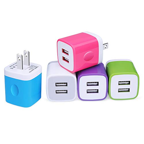 USB Wall Charger, NonoUV 5-Pack 2.1A/5V Dual Port USB Plug Power Adapter Charging Cube Compatible with iPhone Xs Max/Xs/XR/X/8/7/6 Plus/5S/4S, Samsung Galaxy S9/S8/Note 9, LG, Kindle, Android Phone