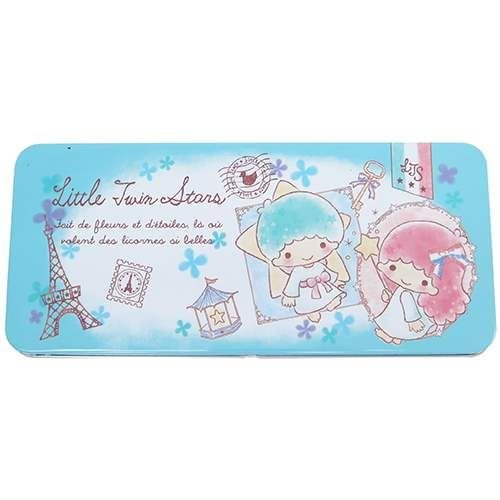cute blue Little Twin Stars Eiffel Tower pencil case tin cas