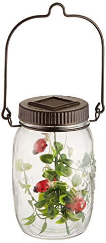 Sana Enterprises Ladybug Solar Power Lights LED, Five in the Glass Jar, Decorative, Hanger Solar Ladybug Lights