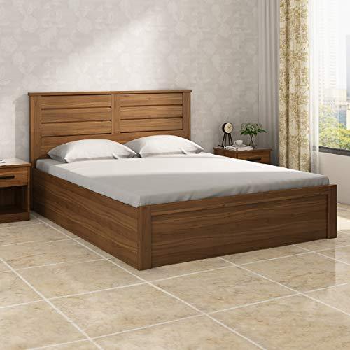 Home Centre Freddie Engineered Wood Platform Queen Size Matte Bed with Box Storage  Brown