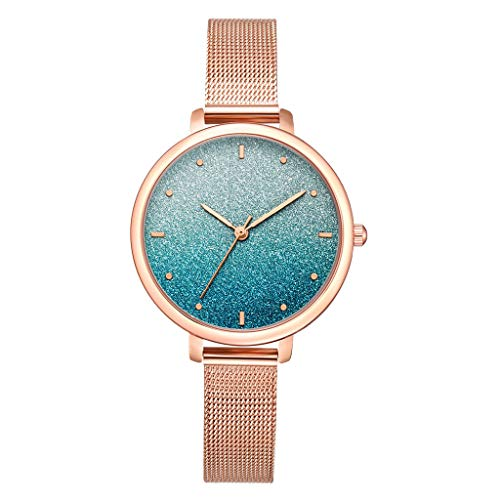 LUCAMORE Women Simple Mesh Bracelet Watch Girl Frosted Dial Stainless Steel Band Analog Watches ()