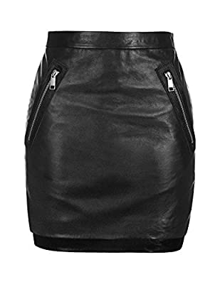 RICHKOKO Women Side Slit High Low PU High Waist Zipper Bodycon Mini Skirt