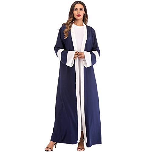 (Sunyastor Newest Women Ethnic Robes Lace Abaya Islamic Muslim Middle East Maxi Dress Bandage Kaftan Gown Dress with Belt Dark)