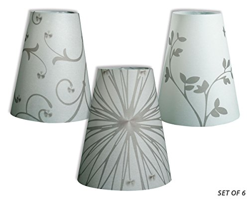 Royal Designs Flower Silhouette Vellum Paper Wine Glass Tea Light Lampshade- Party Centerpiece - Set of 6 - TLS-141516-6
