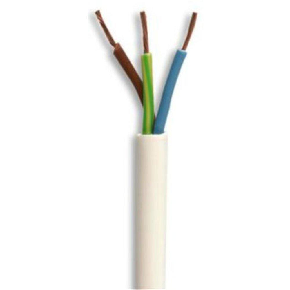 3 Core Round White Flex Flexible Cable 1.5 MM 7 metre Cut Length