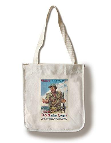 Lantern Press Join The US Marine Corps! (Artist: Flagg, James Montgomery) USA c. 1942 - Vintage Advertisement (100% Cotton Tote Bag - Reusable)