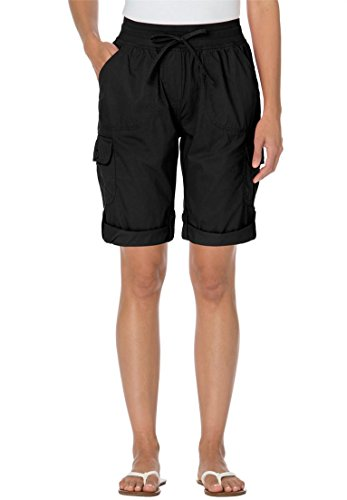 Women's Plus Size Shorts With Convertible Tabs Black,22 W