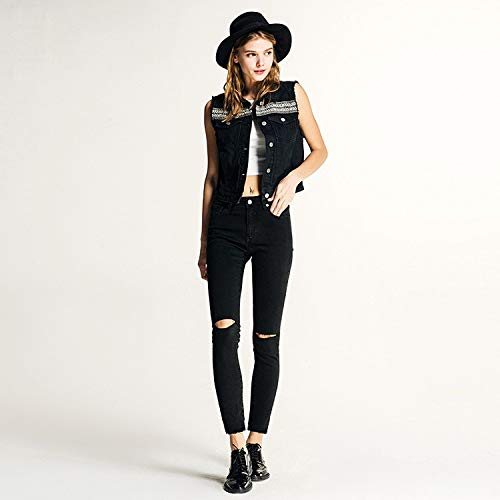 XL Negros Pantalones Cintura Agujero M Femenino Jeans para MVGUIHZPO Vaqueros Negro Stretch Negros de Baja Mujer Denim ZqC4Bnwf