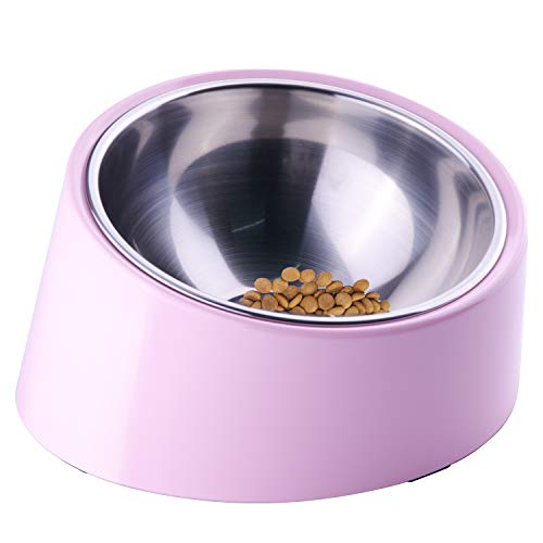 Super Design Mess Free 15° Slanted Bowl for Dogs and Cats, Tilted Angle Bulldog Bowl Pet Feeder, Non-Skid & Non-Spill…