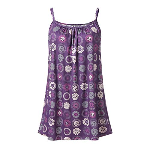 - iYYVV Womens Basic Summer Fashion Printed Sleeveless Vest Camisole Tunic Tank Tops Purple