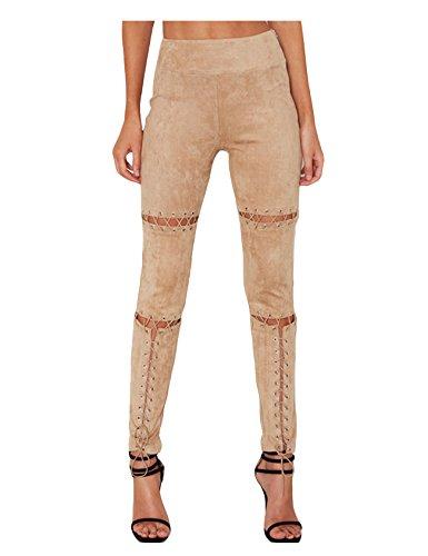 Jueshanzj Femme Jean bandage style pantalons dchir Abricot