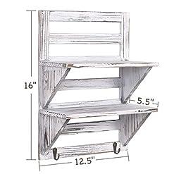 Entryway RHF Rustic Wall Shelf, Wood Wall Shelves, Hanging Shelf Organizer Rack, Decorative Floating Shelves for Living Room…