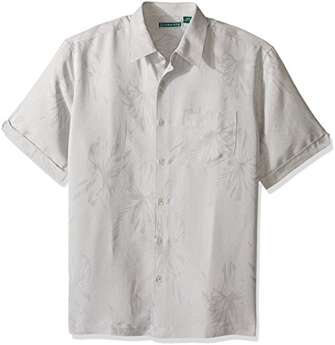 (Cubavera Men's Short Sleeve Polyester L-Shape Embroidered Button-Down Shirt, Alloy, Small)