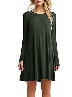 Bestown Women's Casual Long Sleeve Simple Loose Dress Shirt