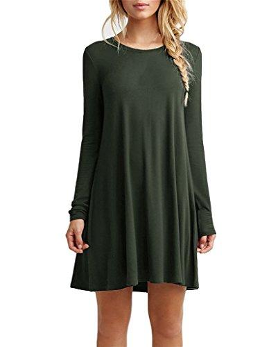 Bestisun Women's Casual Long Sleeve Simple Loose Dress Shirt