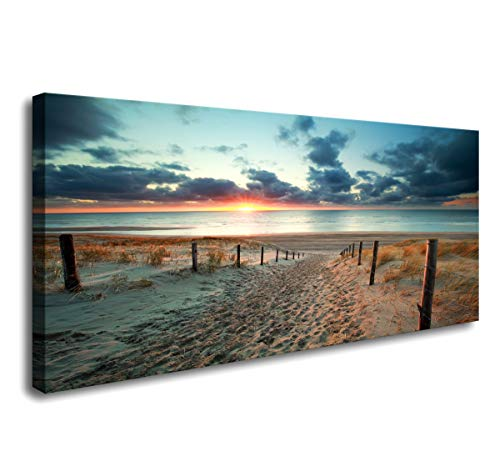 Canvas Wall Art Beach Sunset Ocean Nature Pictures Long Canvas Artwork Prints Contemporary 20in x40in Wall Art Decor for Home Living Room Bedroom Decoration Office Wall Decor Framed Ready to Hang