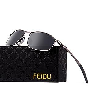 FEIDU Polarized Sport Mens Sunglasses HD Lens Metal Frame Driving Shades FD 9005 (A Black /Gun, 2.24)
