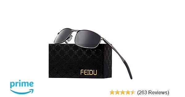 7a3a0e1b385 Amazon.com  FEIDU Polarized Sport Mens Sunglasses HD Lens Metal Frame  Driving Shades FD 9005 (A-black gun-9005