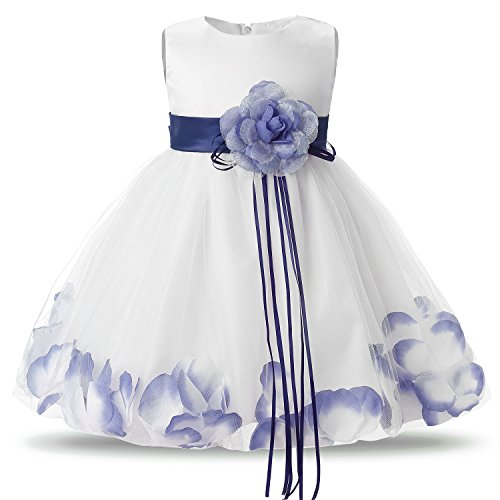 (NNJXD Girl Tutu Flower Petals Bow Bridal Dress for Toddler Girl Size(L) 13-18 Months)