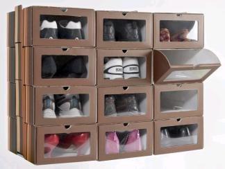 Caja de zapatos con ventana transparente. Set 12 cajas. Apilables y con apertura frontal: Amazon.es: Zapatos y complementos