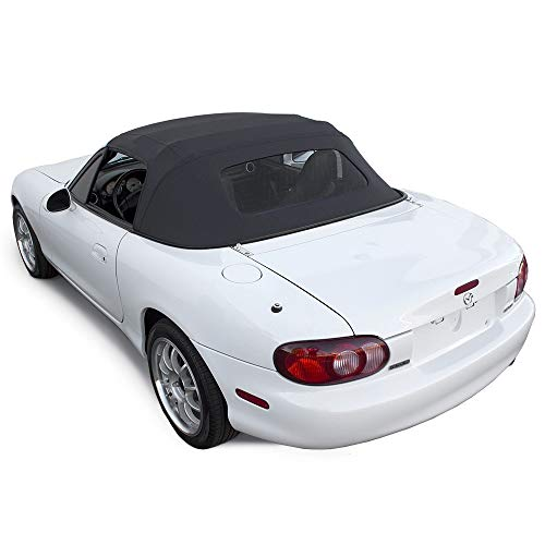 - Compatible With Mazda Miata Convertible Top 1990-2005 One-Piece Non-Zippered Heated Glass Window in Cabrio Vinyl (Black)