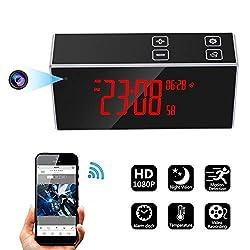 Hidden Camera Alarm Clock Spy Cam HD 1080P WiFi Nanny Cam Home Security Cameras with Night Vision Motion Detection