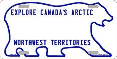 Northwest Territories Novelty Background Metal License Plate with Sticky Notes