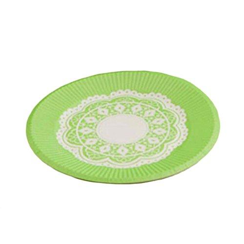 10PCS Disposable Paper Plates Environmental Cake Platters 7'' Dessert Container Green