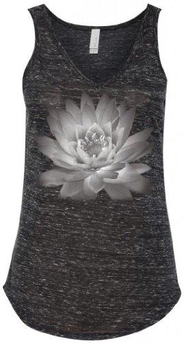 Yoga Clothing For You Ladies Lotus Flower V-Neck Tank, Medium Black Marble
