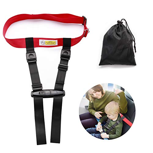 Child Airplane Travel Safety Harness Approved by FAA, Airplane Travel Safety Clip Strap Baby, Kids & Toddlers Restraint System with Free Carry Pouch Bag- Strictly for Aviation Travel ()