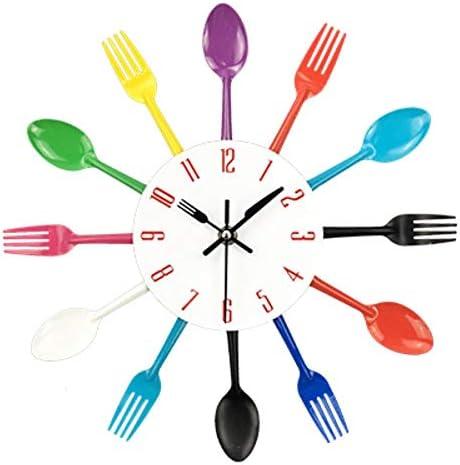 Cubiertos Metal Cocina Reloj de Pared Cuchara Tenedor Cuarzo Creativo Relojes montados en la Pared Diseño Moderno Decorativo Horloge Murale, Colorido: Amazon.es: Hogar