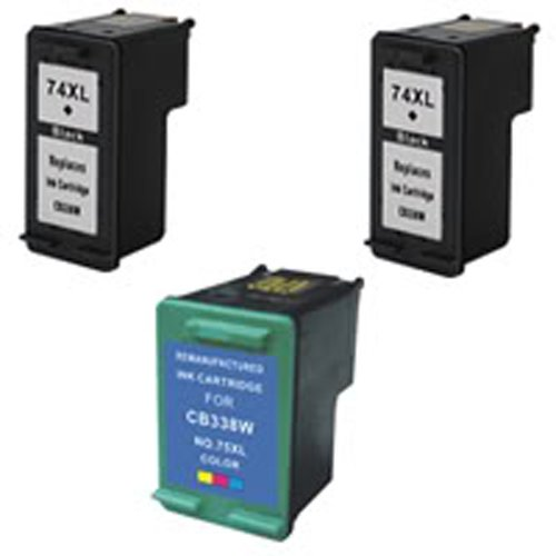 Amsahr 74XL(CB336WN) Remanufactured Replacement HP Ink Cartridges for Select Printers/Faxes with 2 Black and 1 Color Ink Cartridges