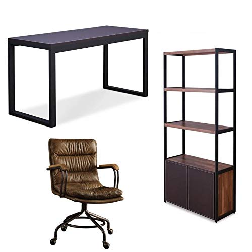 (3 Piece Desk with Leather Swivel Office Chair and 3 Shelf Bookcase)