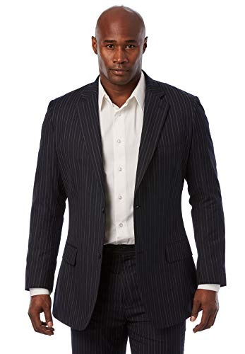 KS Signature Men's Big & Tall Easy Movement Two-Button Jacket, Navy Pinstripe Tall-54