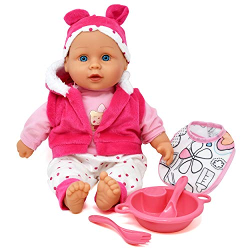 Baby Doll Feeding Set, Includes 16 Inch Soft Body Baby Doll with Winter Outfit Accessories, Jacket, Bib, Feeding Plate and Food Utensils - A Realistic Doll Set Collection for Toddlers, Girls and Kids