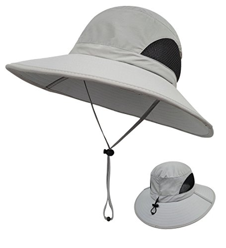 (LETHMIK Outdoor Waterproof Fishing Hat,Summer UV Protection Breathable Boonie Hat Hunting Safari Sun Hat Light Grey)