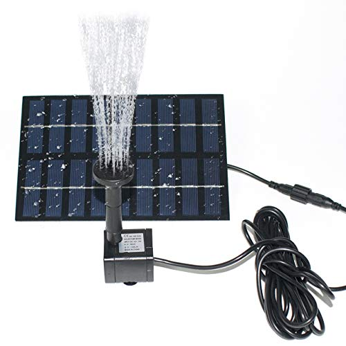 ROADTEC Solar Fountain Pump for Birdbath, 1.8W Solar Water Fountain Solar Powered Water Pump Kit for Small Pond Pool Fish Tank Garden