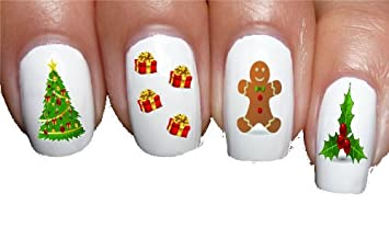 Amazon gingerbread man holly christmas nail decals nail art gingerbread man holly christmas nail decals nail art transfer decal wrap for false acrylic gel or prinsesfo Gallery