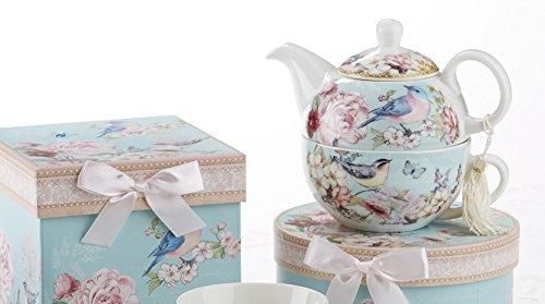 Delton Blue Bird Porcelain Tea for One with Keepsake Box (Gift Tea Set Lovers)