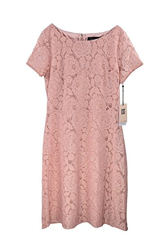 Ivanka Trump Women's Lace Overlay Dress with Cap Sleeves (6, Blush Pink)